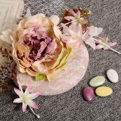 Ladies ' Smukke/Gorgeous/Efterspurgte/Særlige Linned med Blomst Strand / Sun Hatte