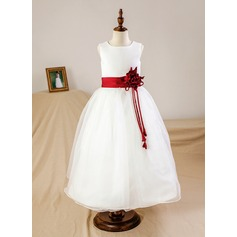Ball Gown Ankle-length Flower Girl Dress - Organza/Satin Sleeveless Scoop Neck With Sash/Flower(s) (Petticoat NOT included) (010094064)