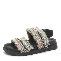 Kvinnor Tyg Flat Heel Sandaler Platta Skor / Fritidsskor Peep Toe med Pärla skor