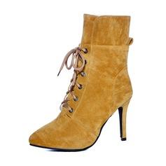 Femmes Suède Talon stiletto Escarpins Bottines avec Dentelle chaussures