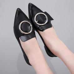 Frauen Kunstleder Flascher Absatz Flache Schuhe Geschlossene Zehe mit Schnalle Schuhe