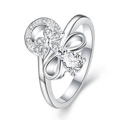 Charme Cobre/Zircon/Prateado Senhoras Anéis