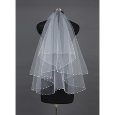 One-tier Fingertip Bridal Veils With Pearl Trim Edge (006037923)