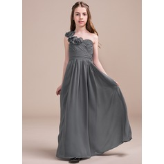 A-Line One-Shoulder Floor-Length Chiffon Junior Bridesmaid Dress With Ruffle Flower(s) (009081126)