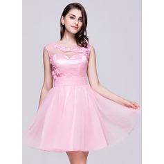 Vestidos princesa/ Formato A Decote redondo Curto/Mini Tule Vestido de boas vindas com Pregueado Bordado Apliques de Renda fecho de correr Lantejoulas