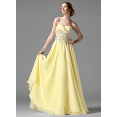 A-Line/Princess Sweetheart Floor-Length Chiffon Prom Dress With Ruffle Beading