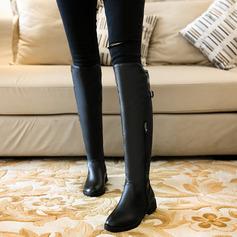 Frauen Kunstleder Niederiger Absatz Stiefel über Knie mit Schnalle Reißverschluss Schuhe