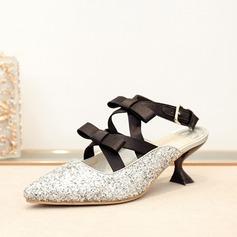 Kvinnor Glittrande Glitter Spool Heel Pumps Slingbacks med Bowknot Bandage skor