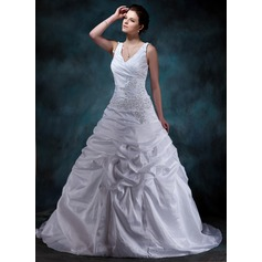 A-Line/Princess V-neck Court Train Taffeta Wedding Dress With Ruffle Beading Appliques Lace