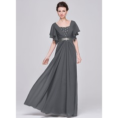 A-Linie Schatz Bodenlang Chiffon Kleid für die Brautmutter mit Rüschen Perlstickerei Pailletten