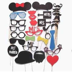 Funny Mask Card Paper Photo Booth Props (32 Pieces)
