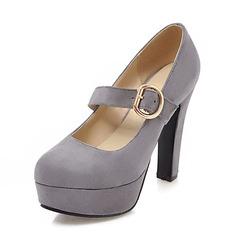 Frauen Veloursleder Stöckel Absatz Absatzschuhe Plateauschuh Geschlossene Zehe mit Schnalle Schuhe