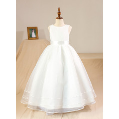 Plesové/Princesový Délka na zem Flower Girl Dress - Organza/Satén Bez rukávů Scoop Neck S Luk (Petticoat NOT included) (010094142)