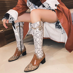 Women's Leatherette Chunky Heel Knee High Boots With Stitching Lace Zipper Split Joint shoes