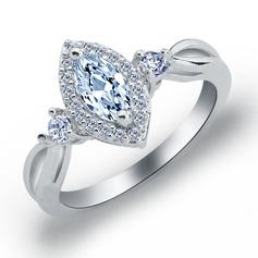 Exquisite Copper/Zircon/Platinum Plated Ladies' Rings