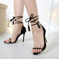 De mujer Ante Tacón stilettos Sandalias Encaje con Perlas de imitación Cordones zapatos