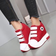 Frauen Leinwand Flascher Absatz Flache Schuhe Plateauschuh Geschlossene Zehe mit Klettverschluss Zweiteiliger Stoff Schuhe