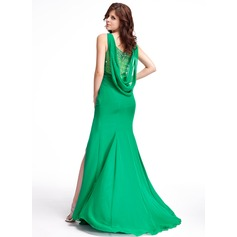 Trumpet/Mermaid Scoop Neck Sweep Train Chiffon Evening Dress With Ruffle Beading Split Front