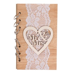 Wooden wedding cutout mr&mrs notebook