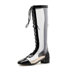 Femmes Similicuir Talon bas Bout fermé Bottes Bottes mi-mollets avec Dentelle chaussures