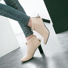 De mujer Ante Tacón ancho Salón Botas con Bowknot Cremallera Borla zapatos