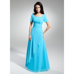 A-Line/Princess Scoop Neck Floor-Length Chiffon Mother of the Bride Dress With Ruffle Beading (008014950)