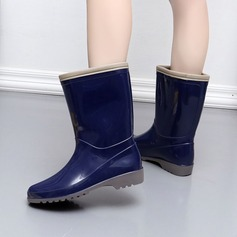 Kvinner PVC Lav Hæl Støvler Mid Leggen Støvler Gummistøvler med Delt Bindeled sko