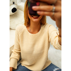 Round Neck Casual Solid Sweaters (1002251390)