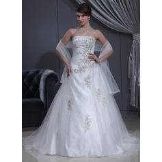 Duchesse-Linie Herzausschnitt Kapelle-schleppe Charmeuse Tüll Brautkleid mit Rüschen Perlen verziert Applikationen Spitze