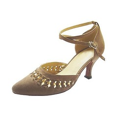 Women's Nubuck Heels Pumps Ballroom With Ankle Strap Dance Shoes