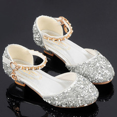 Jentas Round Toe Sparkling Glitter Flower Girl Shoes med Crystal Perle