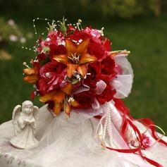 Ljusa Rund Satin Brud Buketter