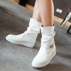 Femmes Similicuir Talon plat Chaussures plates Bottes avec Boucle chaussures