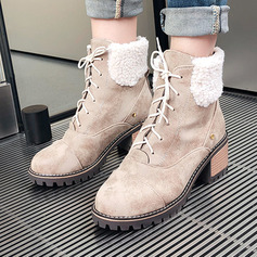 Women's Suede Chunky Heel Snow Boots With Lace-up shoes