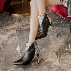 Frauen Kunstleder Stöckel Absatz Stiefelette mit Niete Tierdruckmuster Reißverschluss Schuhe