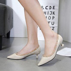 Women's PU Spool Heel Pumps Closed Toe With Rivet shoes