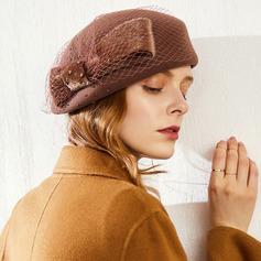 Ladies ' Iøjnefaldende/Nice/Charmen/Romantisk Uld med Tyl Baret Hat