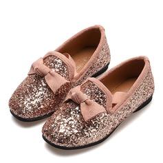 Fille de bout rond Bout fermé similicuir talon plat Chaussures plates avec Bowknot Pailletes scintillantes