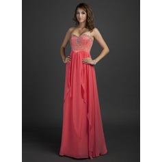 Vestidos princesa/ Formato A Coração Longos De chiffon Vestido de Férias com Bordado
