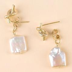 Drop Earrings Geometric Unique Sterling Silver Gold Plated Pierced Earrings