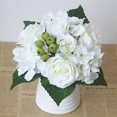 Clássico Seda artificiais Buquês de noiva/Buquês da nama de honra/Flores da Tabela do Casamento -