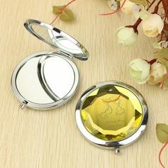 Personlig Crystal diamanten Rostfritt Stål Compact Mirror