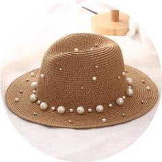 Senhoras Charme Rattan de palha com Falso pérola Chapéu de palha/Chapéus praia / sol