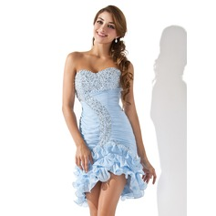 Sheath/Column Sweetheart Asymmetrical Chiffon Homecoming Dress With Ruffle Beading Sequins