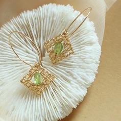 Damen Exotisch Vergoldet/Messing- mit Oval Kristall Ohrringe Freunde/Brautjungfern