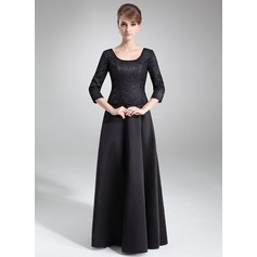 A-Line/Princess Scoop Neck Floor-Length Satin Lace Mother of the Bride Dress