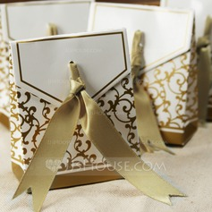 Flower Design Favor Boxes With Ribbons (Set of 12)