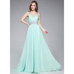 Vestidos princesa/ Formato A Decote V Sweep/Brush trem Tecido de seda Vestido de baile com Pregueado Beading lantejoulas
