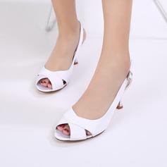 Mulheres como o cetim de seda Salto agulha Peep toe Bombas Sapatos abertos com Fivela