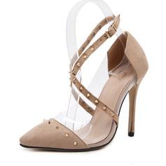 Vrouwen Suede Stiletto Heel Pumps Closed Toe met Klinknagel schoenen